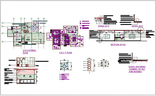 3 BHK Flat Flooring Plan With RC Plansection View Of Washing Areamarble Detail Dwg File
