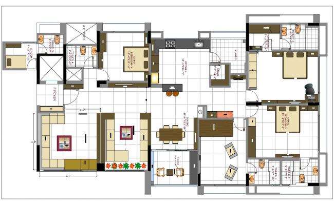 3 bedroom house plan autocad file for House plan cad file