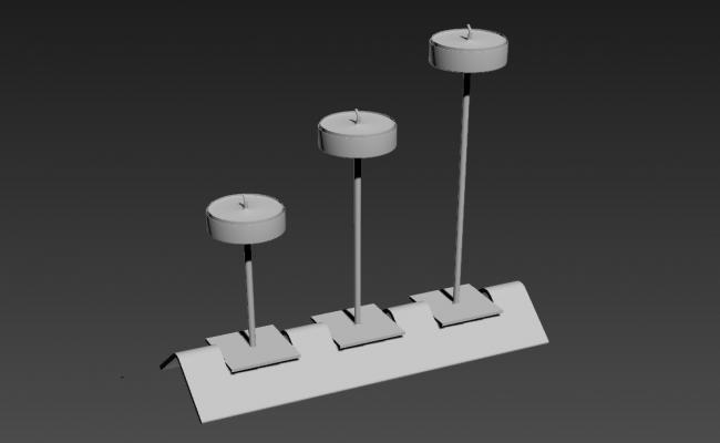 3 Candle With Candle Holder 3D MAX File Free