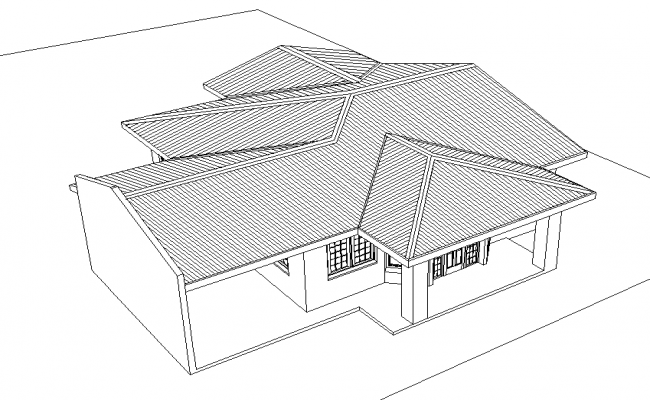 3 D Roof family house plan detail dwg file