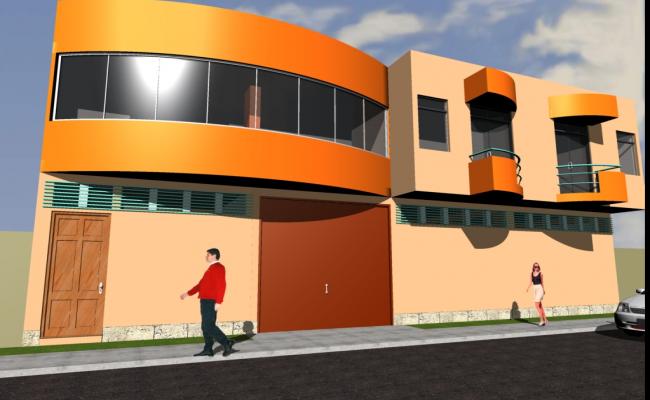 3 D commercial building front elevation plan detail dwg file