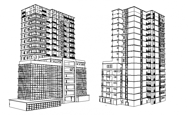3 D commercial high rise building elevation plan detail dwg file