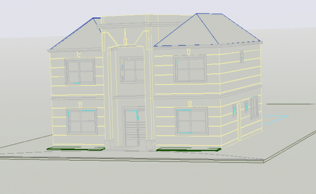 3 D county house plan detail dwg file