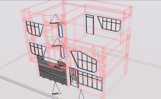 3 D duplex house plan detail dwg file