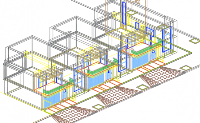 3 D duplex plan detail dwg file