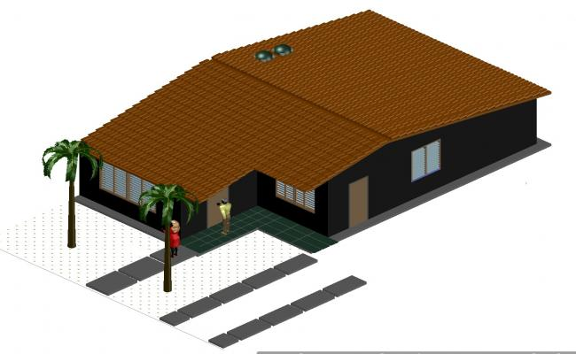 3 D family house plan layout file