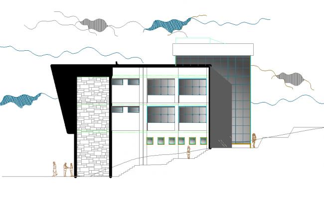 3 D front elevation Administration center plan detail dwg file