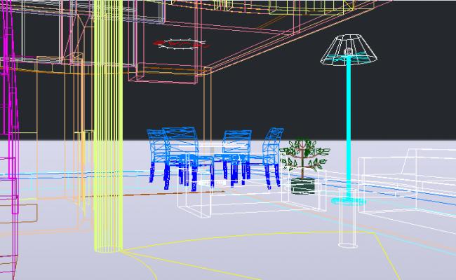 3 D furniture detail dwg file