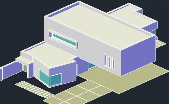 3 D home plan detail dwg file