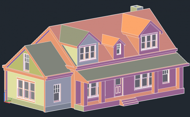 3 D house detail dwg file