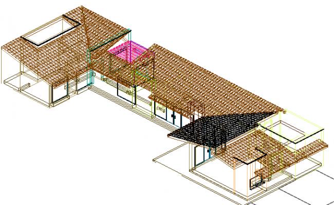 3 D house plan detail dwg file