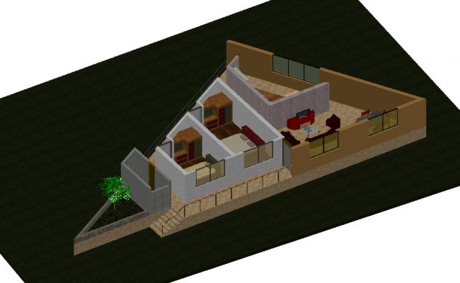3 D house plan dwg file