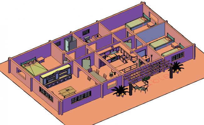 3 D house planning detail autocad file