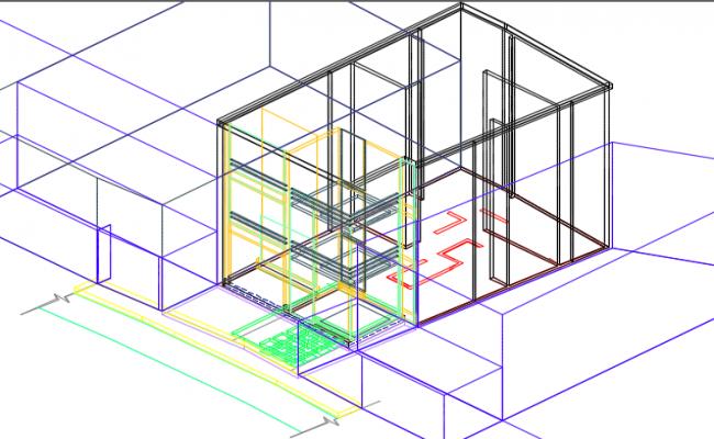 3 D residential house detail dwg file
