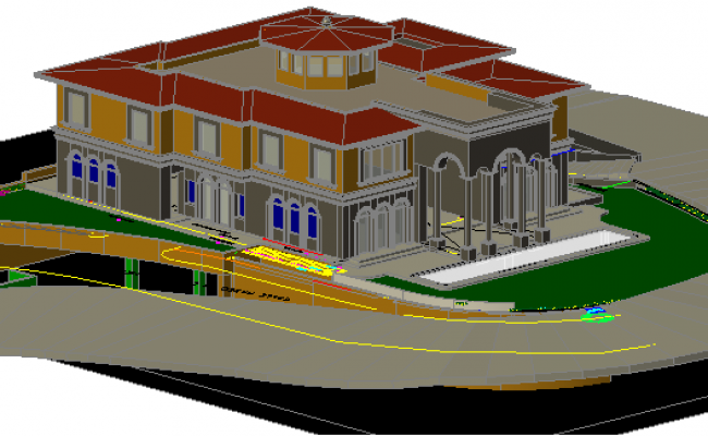 3 D residential house plan detail dwg file