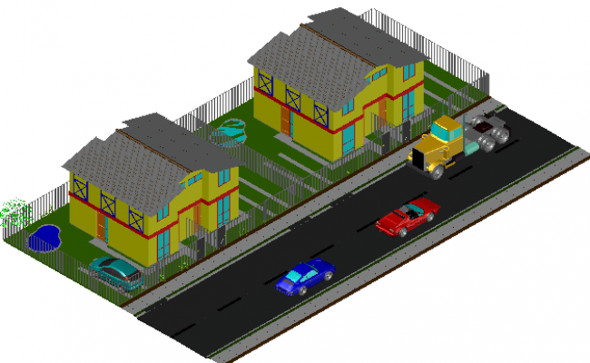 3 D semidetached dwelling detail dwg file