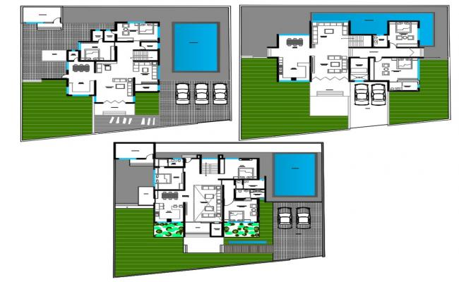 3 Different Option Of Bungalow Plan With Swimming Pool AutoCAD File