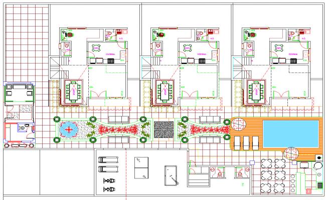 3 Family House Plan dwg file