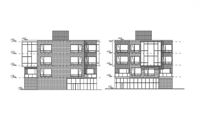 3 Floor Building Plan In DWG File