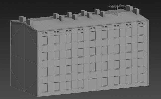 3 Store Apartment Elevation 3D MAX File Free Download