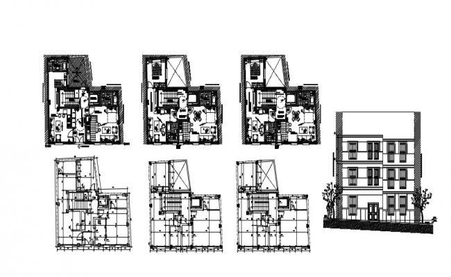 3 Storey House Plan In DWG File