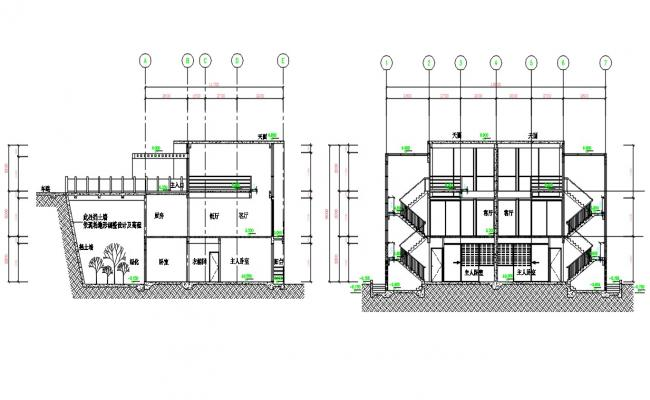 3 Storey House Section CAD Drawing