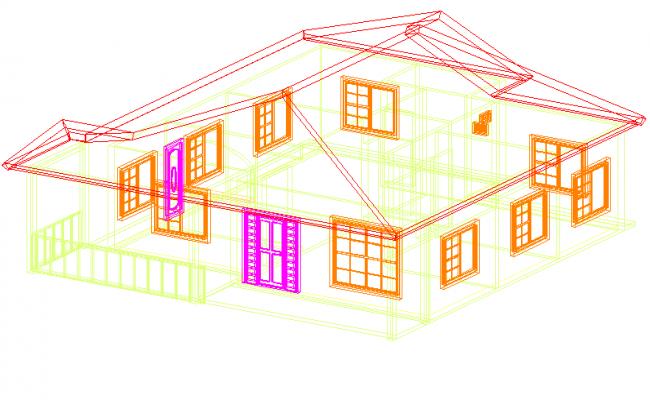 3 d cottage plan detail dwg file