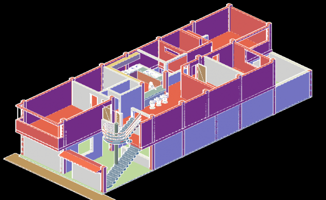 3 d house lifting planning dwg file
