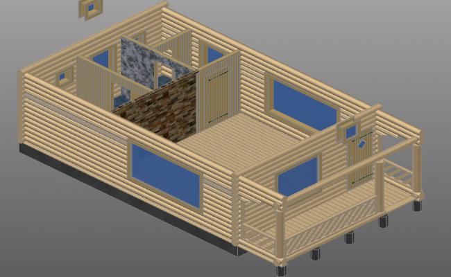 3 d timber house plan detail