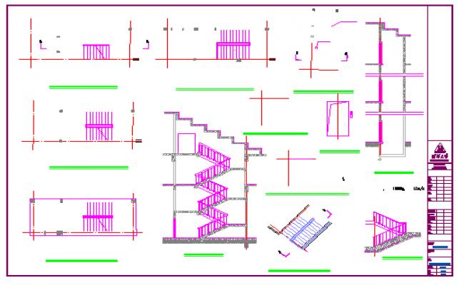 3 indoor stairs, elevator details design drawing