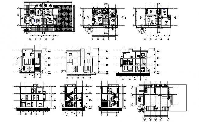 3 Storey Modern House In DWG File