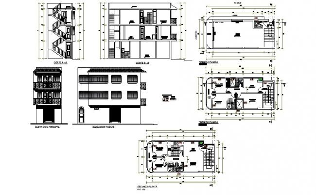 3 storey residential house with section and elevation in dwg file