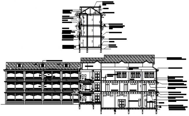 3 storey school building design in dwg file
