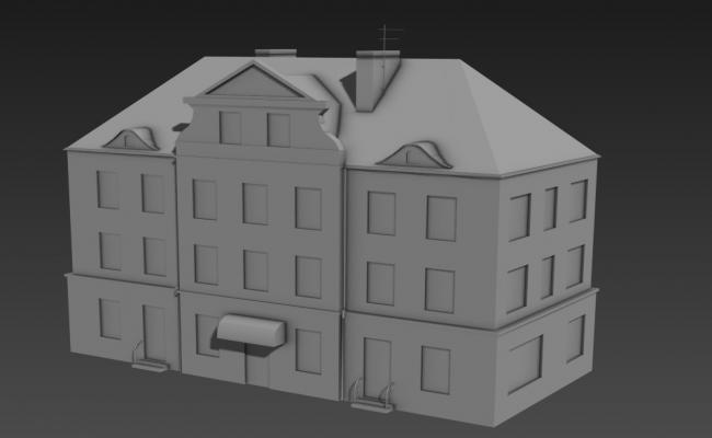 3 story apartment 3d elevation 3D MAX File Free