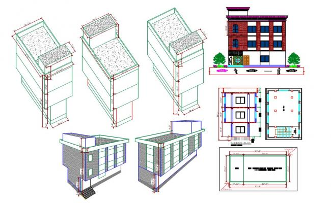 32 FT *17 FT Size Office Building DWG File
