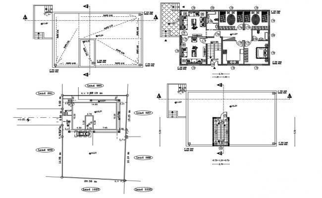 32' X 45' House Furniture Layout Plan DWG File