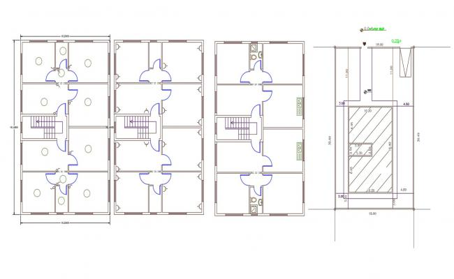32' X 53' Plot Size For Apartment Floor Plan DWG File