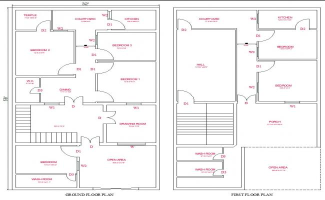 32x58 ground and first floot plan cad files