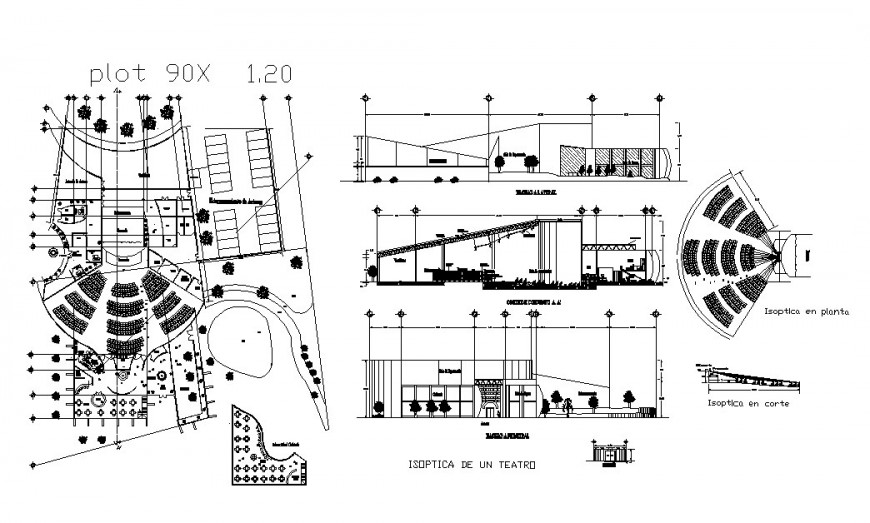 350 spectators theater elevation, section, plan and auto-cad drawing details dwg file