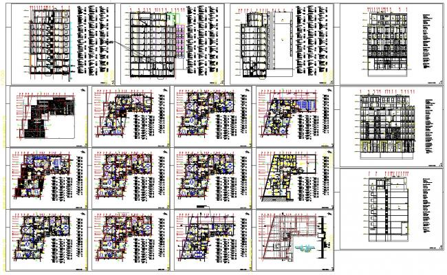 High rise apartment architecture drawing