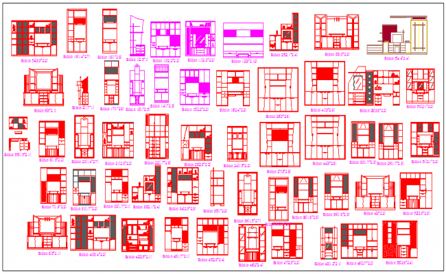Different types of wadrobe design block drawing