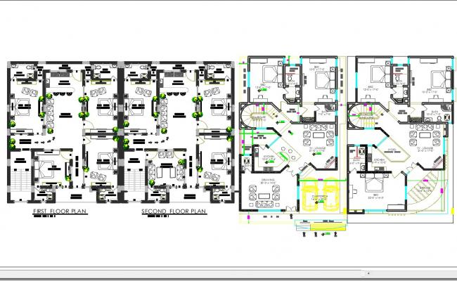 House interiors floor layout cad files