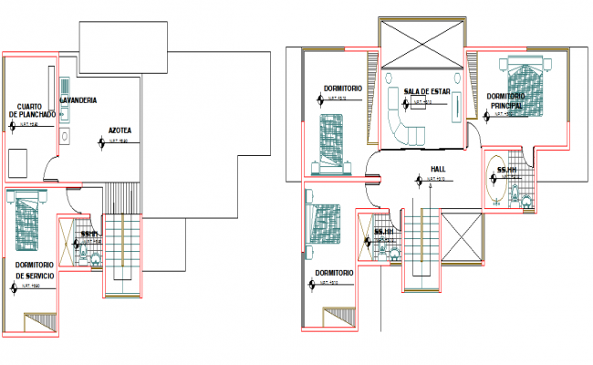 3BHK Architectural layout plan of a house dwg file