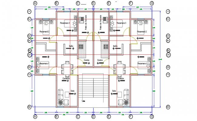 3BHK Flat Floor Plan With Furniture Lay out CAD File