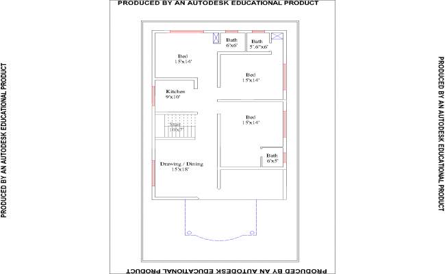 3bhk Residential House Plan View Design In Autocad