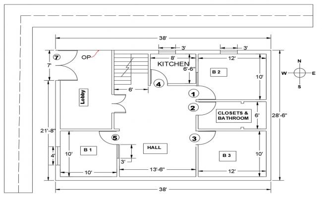 3BHK Simple House Layout Plan With Dimension In AutoCAD File