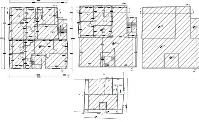 3 BHK Apartment  House Floor Plan AutoCAD Hatching Design