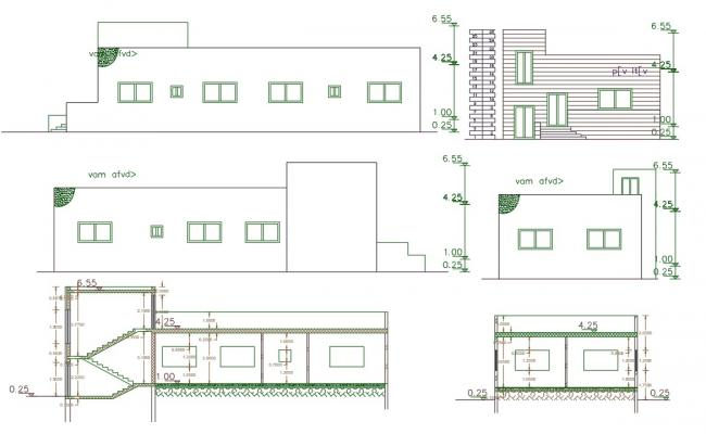 3 BHK House Building Sectional Elevation Design