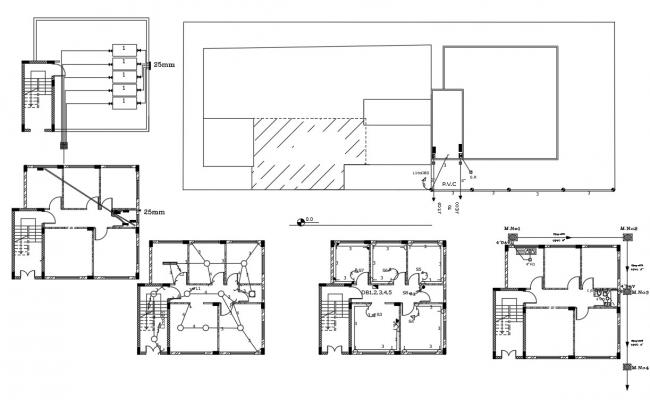 3 BHK House Plumbing And Electrical Layout Plan Design