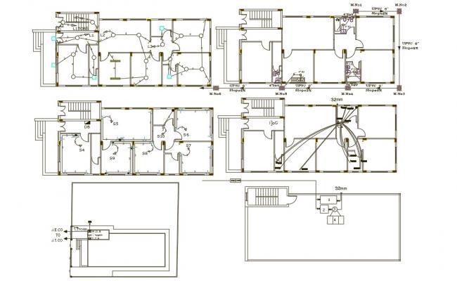 3 BHK Single Storey House Electrical And Plumbing Plan